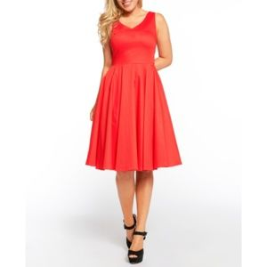 NWT Red Full Sleeveless Swing Dress